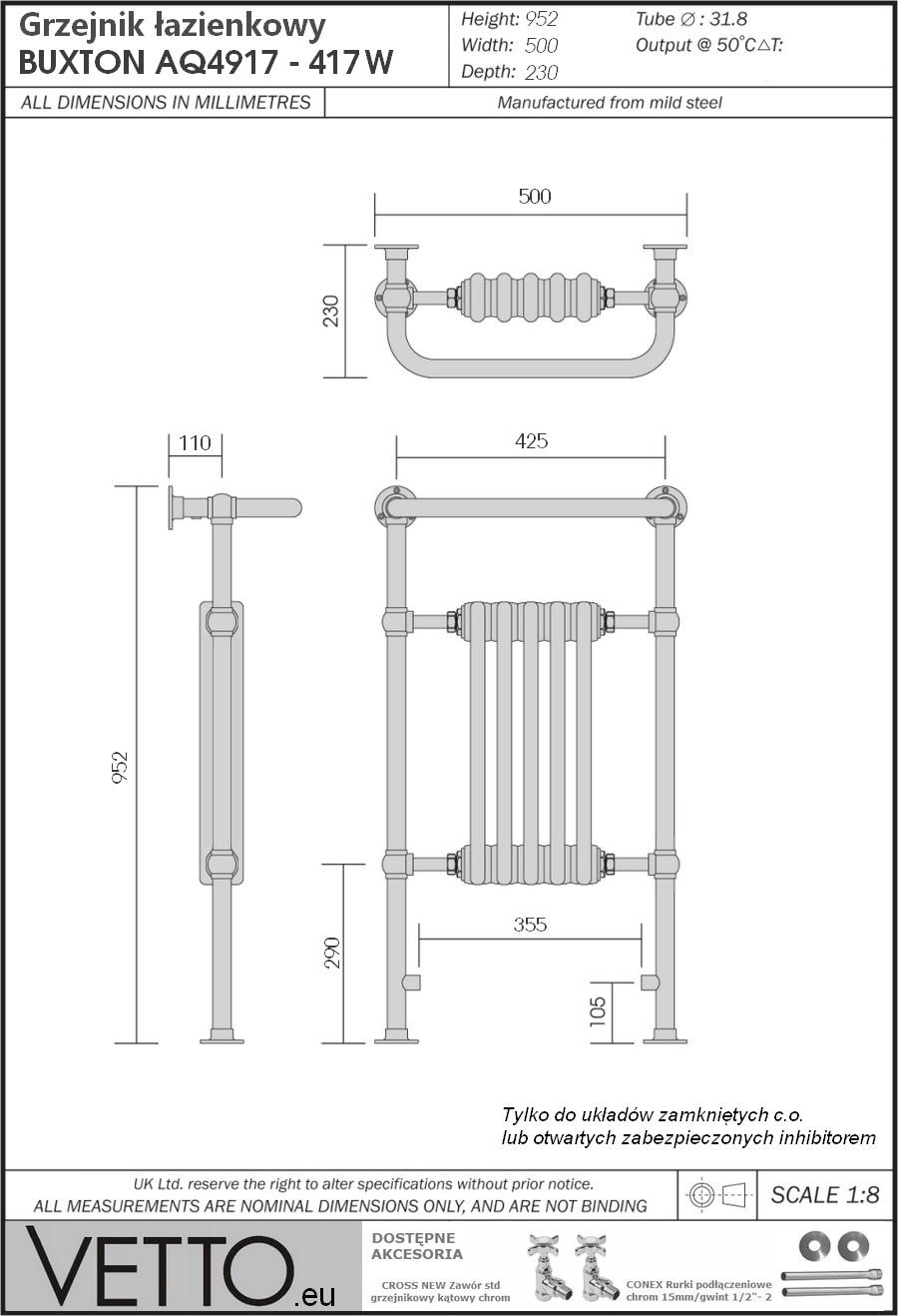 BUXTON h95x50cm, 420W, wodny, chrom/biel grzejnik łazienkowy retro.