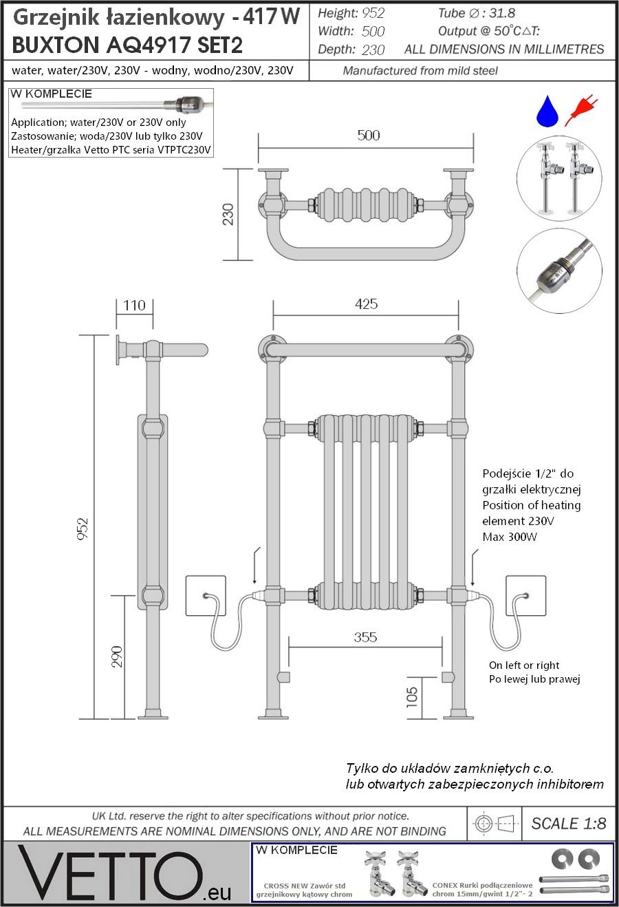 BUXTON SET h95x50cm, 420W, wodny, chrom/biel grzejnik łazienkowy retro