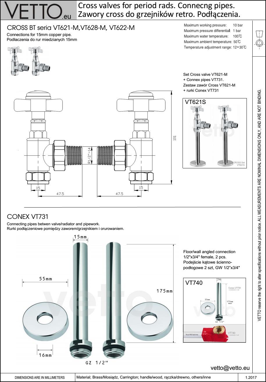 Zestaw VT621S- zawory i rurki z rozetami