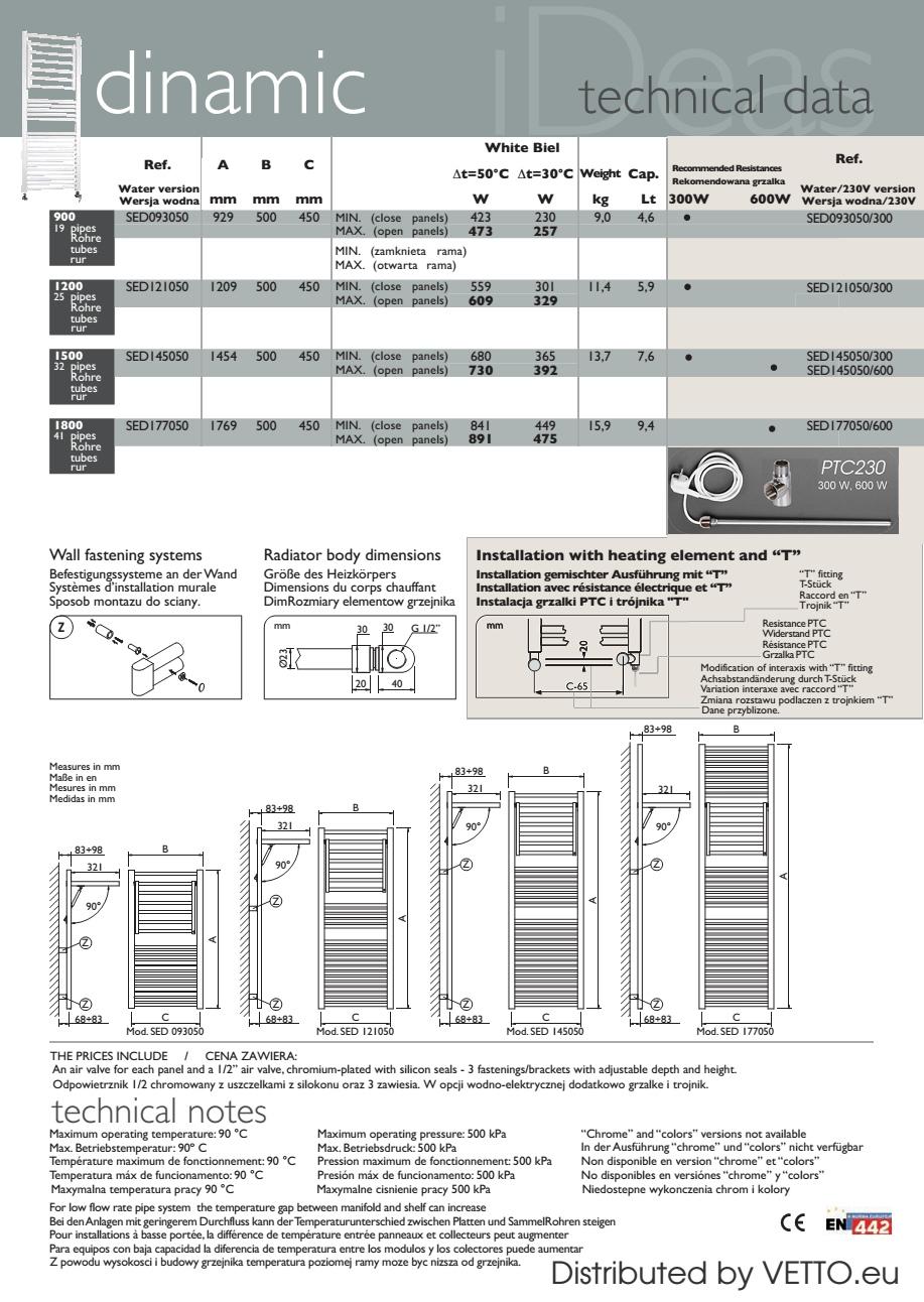 DINAMIC grzejnik łazienkowy wodno/230V, H.93/121/145/177cm,biały