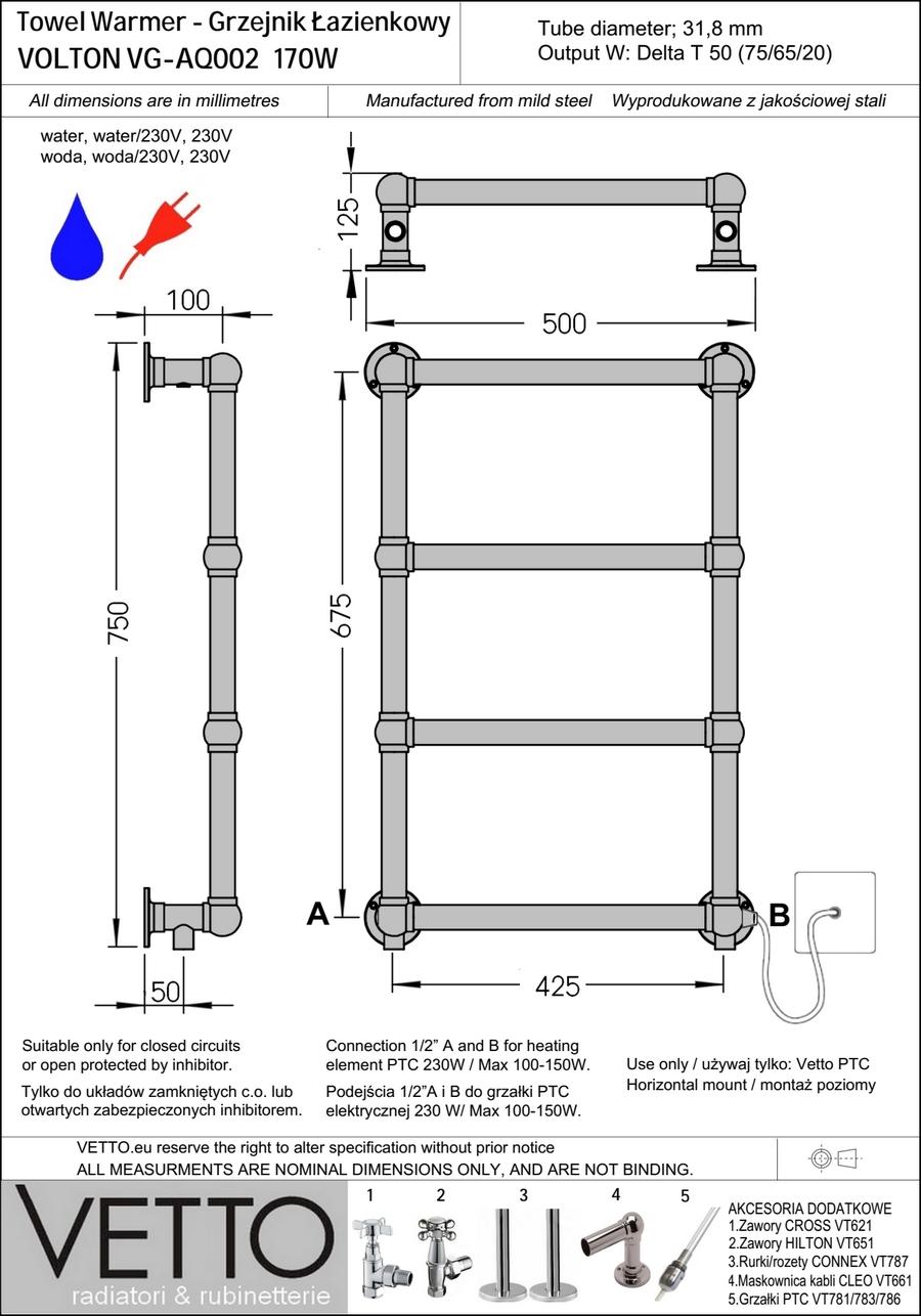 EASTON h75x50cm, 171W, woda/230V, chrom grzejnik łazienkowy retro. VETTO