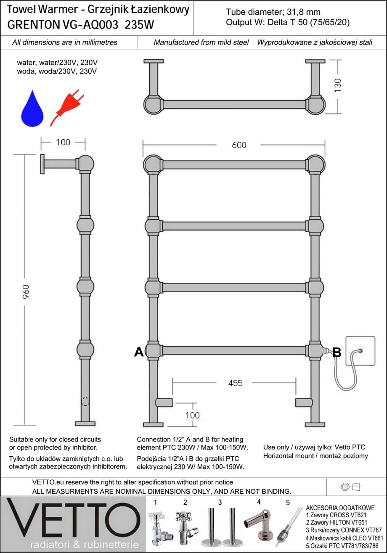 GRENTON h85x60cm, 235W, woda/230V, chrom grzejnik łazienkowy retro. VETTO
