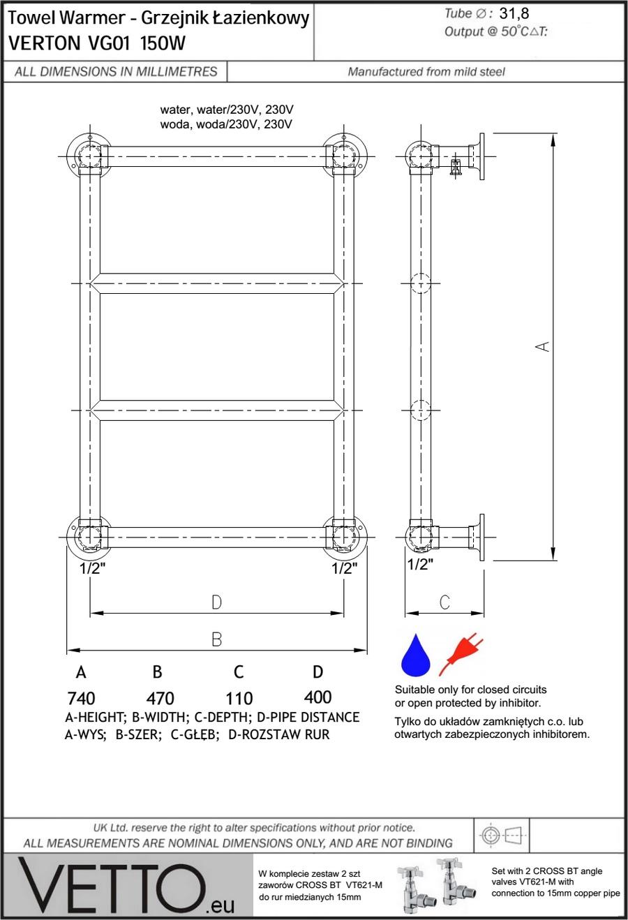 VERTON 150W z zaworami, 74x47cm, woda/230V, chr. Grzejnik łazienkowy rustykalny mini. VETTO