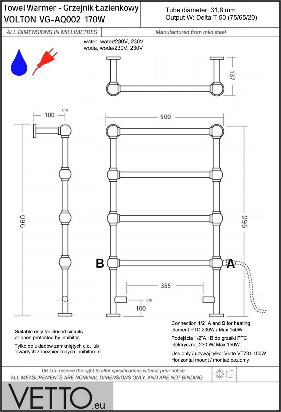 VOLTON 170W, h96x50cm, woda/230V, chrom grzejnik łazienkowy retro VETTO