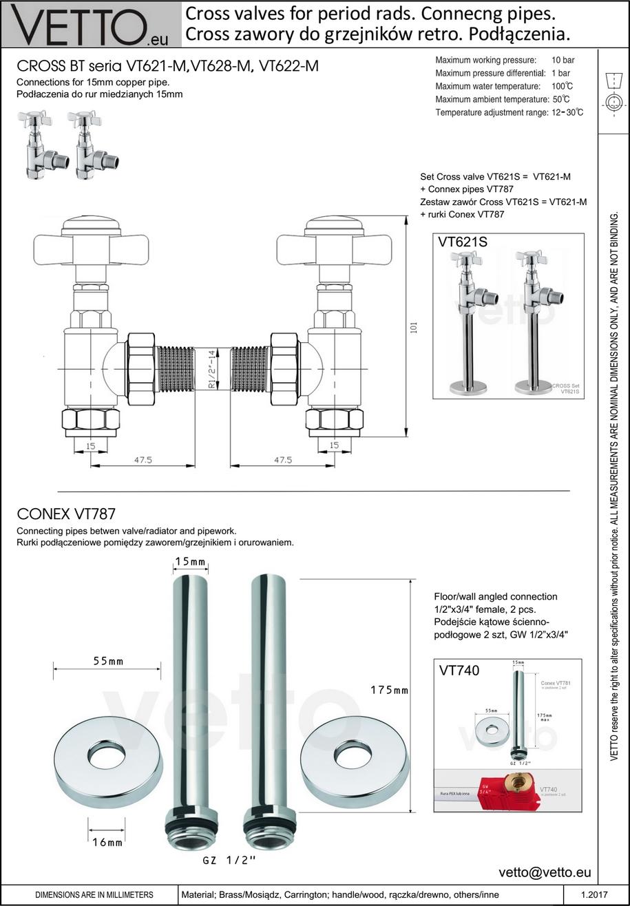 CROSS BT zawór retro, chrom. Kątowy, 2szt kpl. grzejnikowy. Do rur miedź 15 mm.VT621-M Vetto
