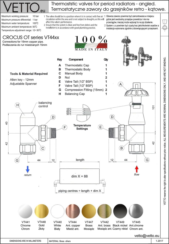 CROCUS OT zawór termost. retro, różne wykończ.2 szt. Kątowy, grzejnikowy. Do rur miedź.15mm. VT44X