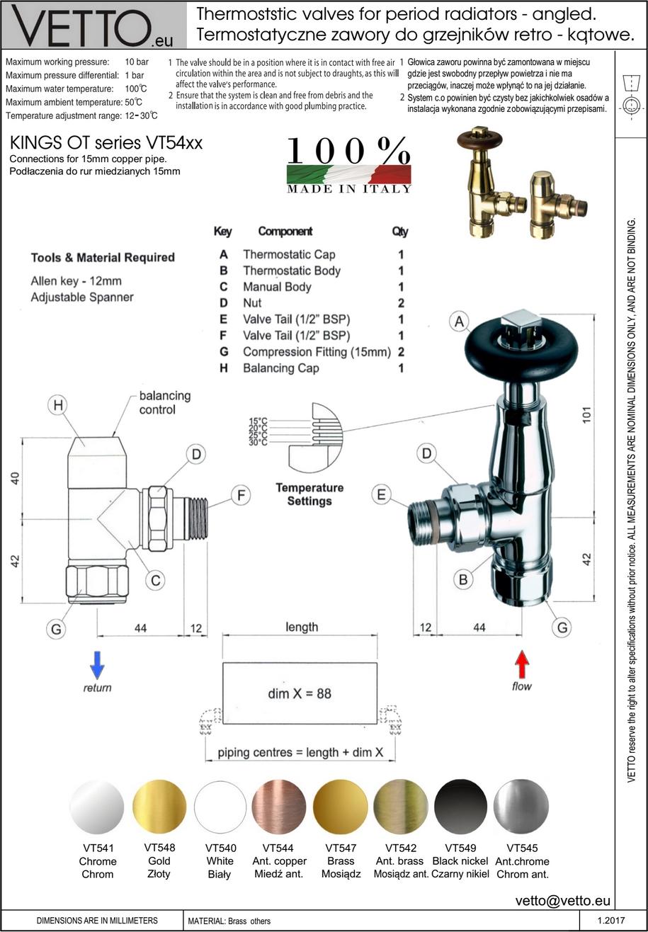 KINGS OT zawór termost. retro, różne wykończ.2 szt. Kątowy, grzejnikowy. Do rur miedź.15mm. VT54X
